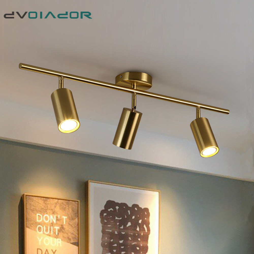 Golden Modern Ceiling Spot Light TV Backdrop Living Room 1Head/2Head/3Head Ceiling Lamp E27 LED Bulb Light Spot