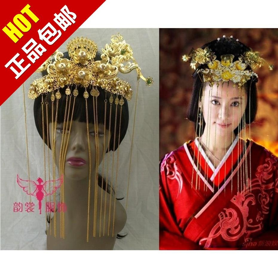 TV Play Scheme of A Beauty Princess Hair Tiaras Wedding Bride Coronet Hair Tiaras 00009 red gold bride wedding hair tiaras ancient chinese empress hair piece