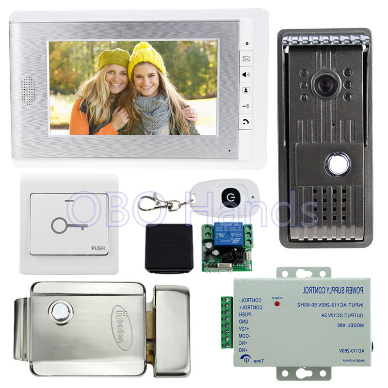 7'' wired color video door phone access control system kit set with outdoor doorbell camera+metal electric lock+12V power supply one key call 700tvl for wired video door phone outdoor camera id card access control