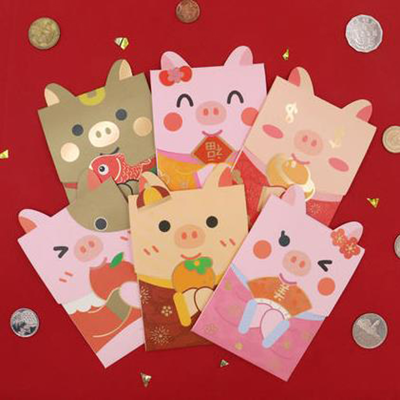 6 Pcs/pack Kawaii Animal Little Pig Bear Dog Red Envelope To Fill In Money Chinese Tradition Hongbao Gifts Stationery Envelope