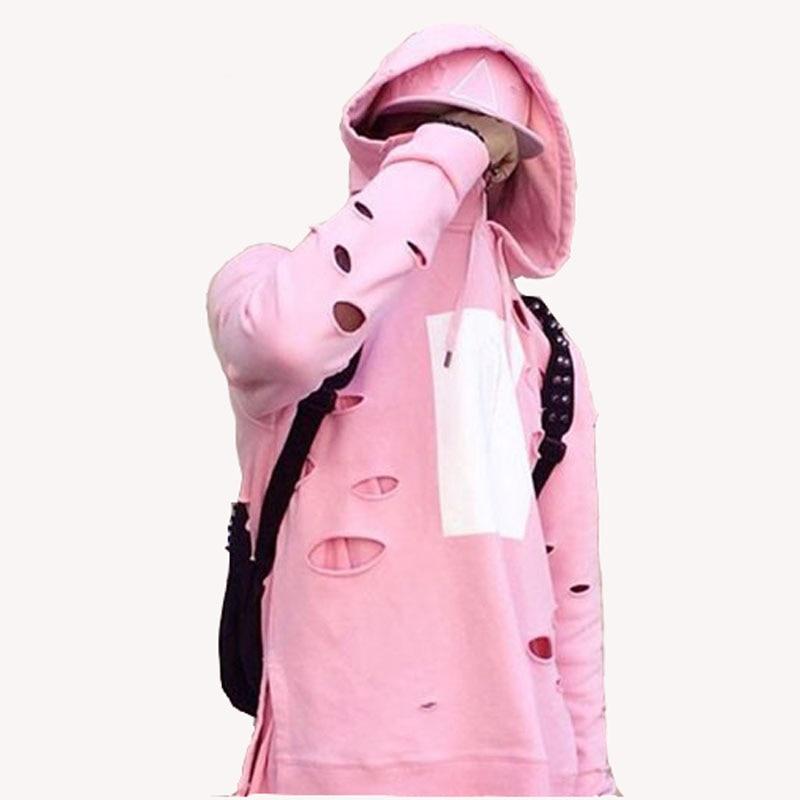 New Fashion Mens Hip Hop Pink Hoodies Wis