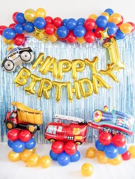 Banner De Revelación De Género | Bebé, Primera Fiesta De Cumpleaños Ballon Fuego Camión Ballon Garland Azul Globo Rojo Banner Camión Volquete De Ballon Conjunto Niño Cumpleaños