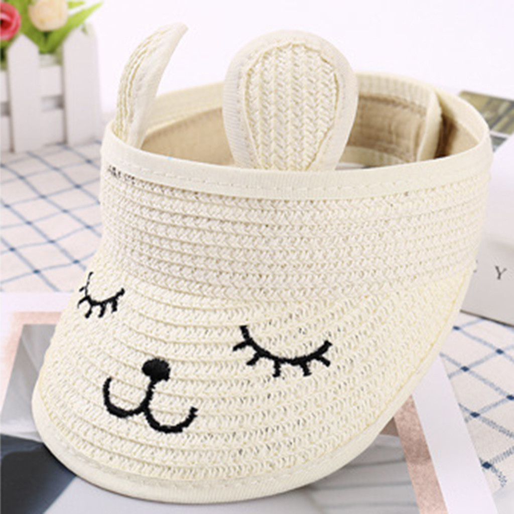 1-7 Years Old Children Cute Straw Boater Hat Character Nylon Fastener Tape Festival Summer Sun Beach Hat 48-54cm @30