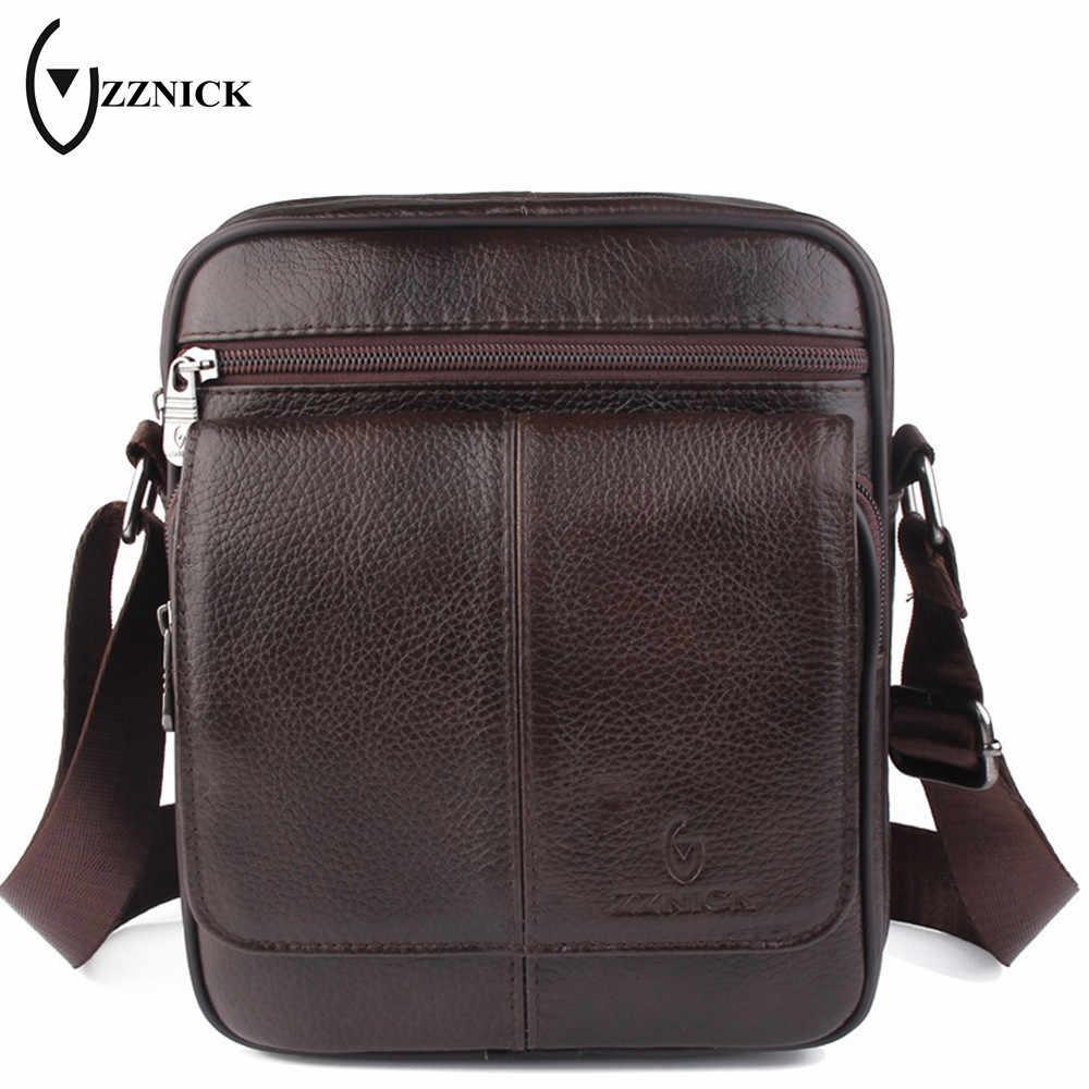 c094361eb552 ZZNICK 2018 Мужская сумка из натуральной кожи модная мужская сумка-мессенджер  мужская повседневная сумка через