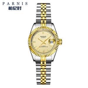 Image 5 - Reloj Parnis de 26mm para mujer, relojes mecánicos de lujo para mujer, diamantes de imitación reales de acero inoxidable, brazalete con movimiento japonés con Calend