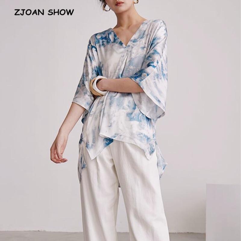 2019 New Summer V neck Tie Dye BLUE Print Temperament Loose Big Size Shirt 3/4 Bat sleeve Women Blouse Fashion Causal Tops