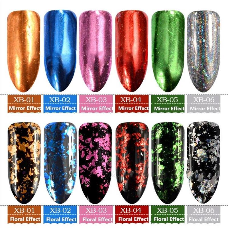 0 2G BOX DIY Irregular Pigment Sequins Nail Flakes Sequins Powder Magic Mirror Glitters Gold Silver Colors Nail Decoration in Nail Glitter from Beauty Health