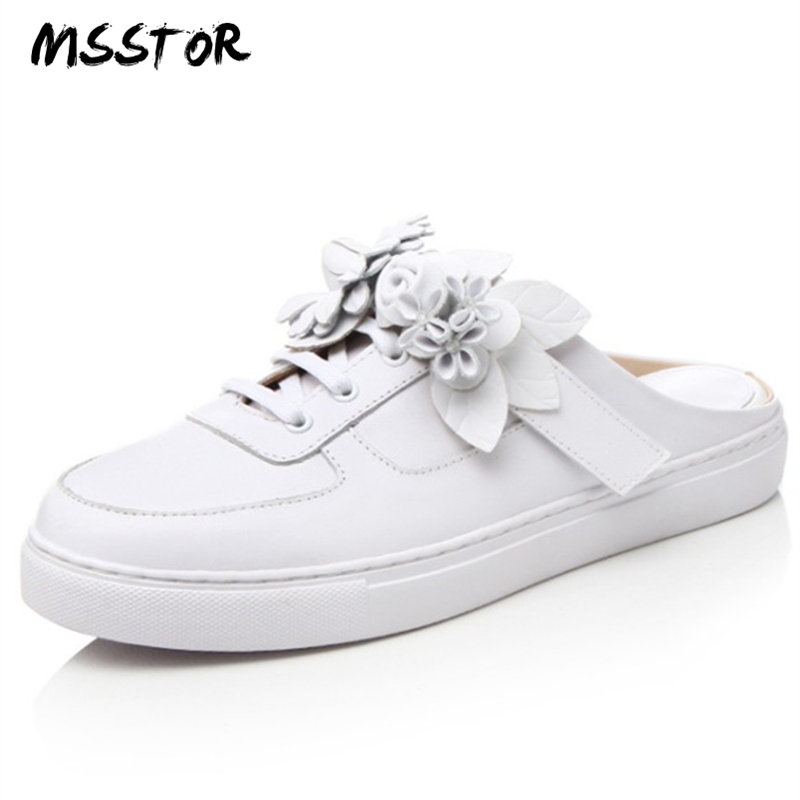 MSSTOR Flower Mules Shoes Women Round Toe Casual Fashion Rubbe Concise Summer Ladies Flats Shoes Genuine Leather White Shoes ouqinvshen spherical heel mules shoes round toe plus size 34 43 genuine leather yellow white ladies shoes fashion slippers women