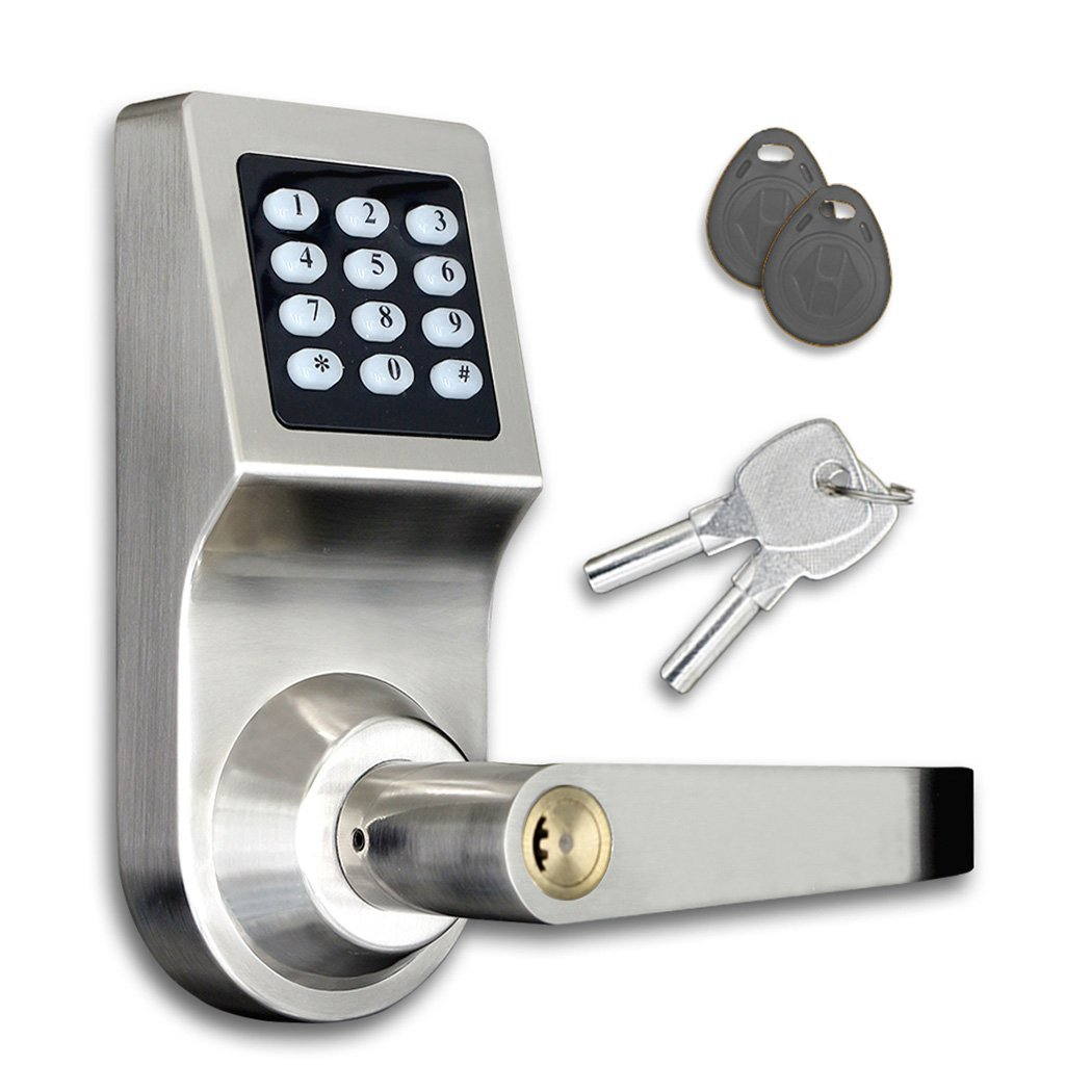 Electronic Code Door Lock Smart Digital Keypad Password Key Stainless Steel Single Latch reversible silver smart digital electronic keypad lock keyless door lock with single latch for commercial buildings villas