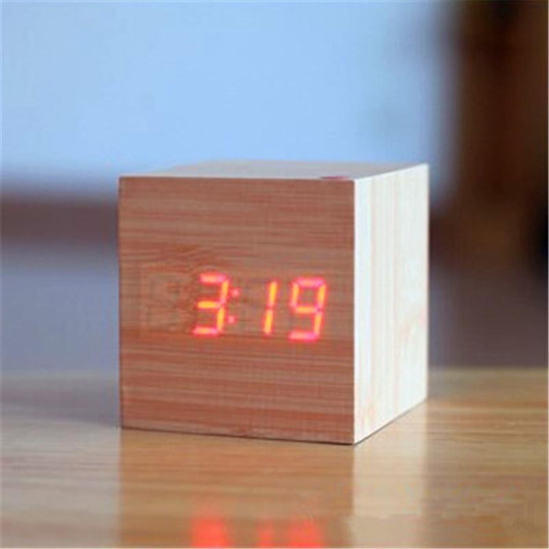 Mini mignonne Led réveil en bois Réveil lumière horloge externe - Décor à la maison - Photo 5