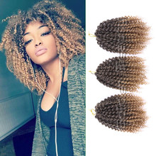 3 unids/set Ombre Color 8-10 pulgadas Afro Rizado Torcedura Marley Braid Extensión del Pelo de Ganchillo Marlibob Trenzado Sintético Pedazo de cabello
