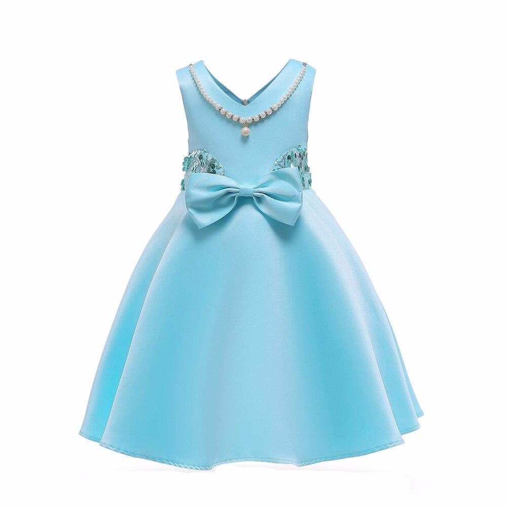 Fancy Bow Kids Girl Wedding Girls Dress Pearl necklace Princess ...