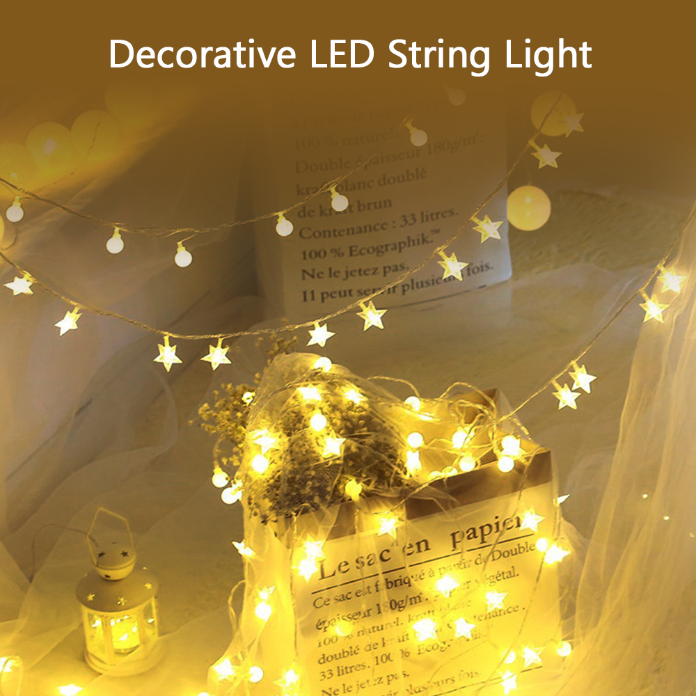 1.5/3m 10/20 Leds String Lights Five Star Copper Wire Decorative Light Battery Powered For Wedding Party Christmas Pure Whiteness