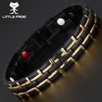 LITTLE FROGFashion Jewelry Healing FIR Magnetic Stainless Steel Health Energy Bracelet For Men Blood Pressure Accessory Bracelet