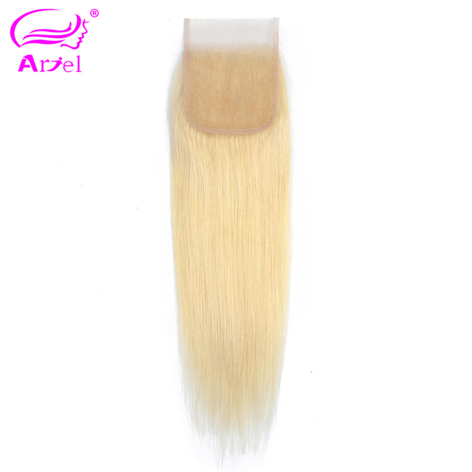 ARIEL Lace Closure Human-Hair Blonde Middle/free-Part Indian Straight 613 with 4x4/Indian/Remy-8-22inch/..