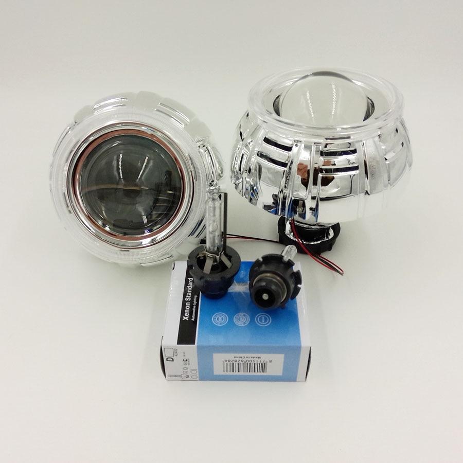 Ner arraival  2.8inch HID Bi-xenon projector Lens with shroud LHD/RHD with D2S xenon bulb easy  installation Perfect Car Styling  new 2 5 inch lhd car motor bi xenon for hid projector halo lens angle eye headlights bulb shroud h1 h4 h7