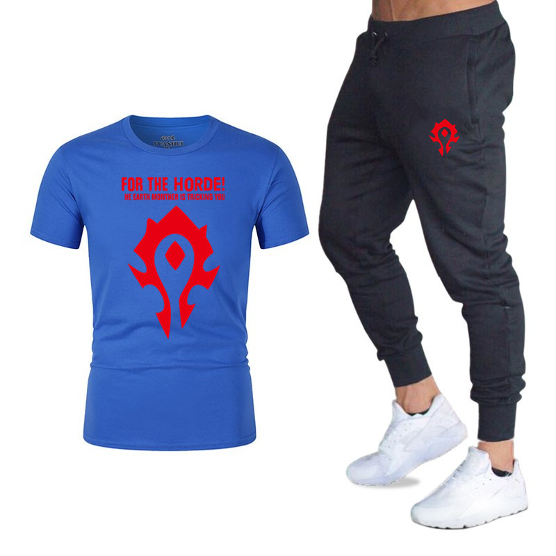 Summer Hot Sale Men's Sets T Shirts+pants Two Pieces Sets Casual Tracksuit Male 2019 Game WOW Tshirt Gyms Fitness Trousers Men