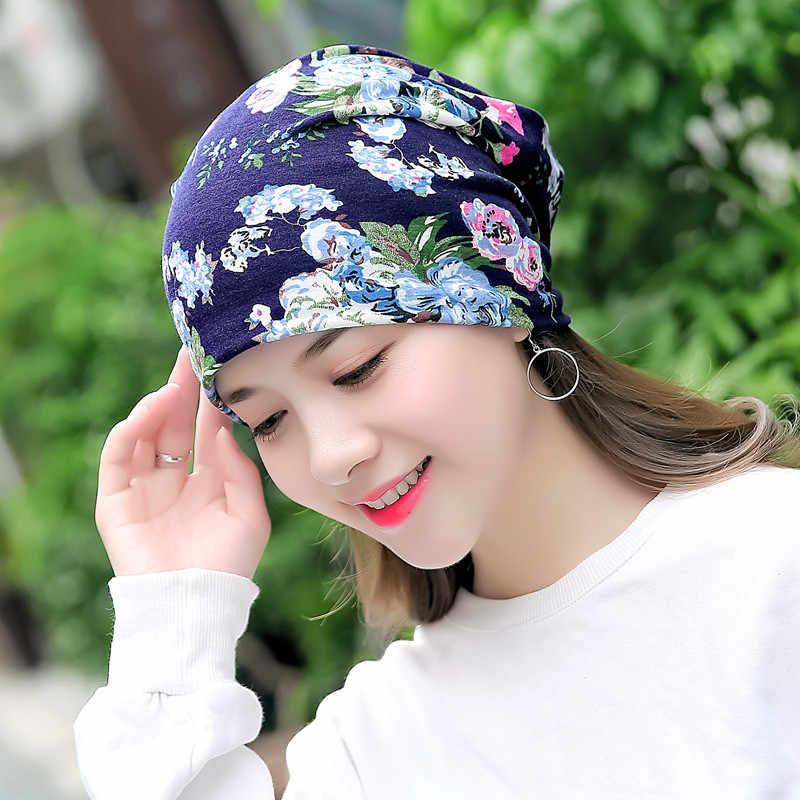 Women Print Flowers Beanie Multifunction Printed Hat Girl Casual Skullies  Floral Turban Scarf Female Headwear Headwrap 8634bdeb0786