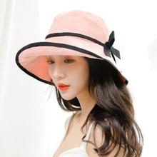 SUOGRY 2019 Summer Fishing Hat Chic Cotton Bucket With Bowknot  Panama Women Fisherman Caps Harajuku Sun Hats