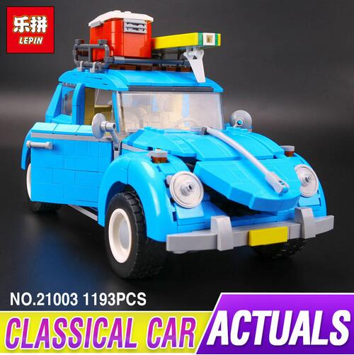 New LEPIN 21003 Series City Car Beetle model Educational Building Blocks Compatible 10252 Blue Technic children toy gift lepin 02012 city deepwater exploration vessel 60095 building blocks policeman toys children compatible with lego gift kid sets