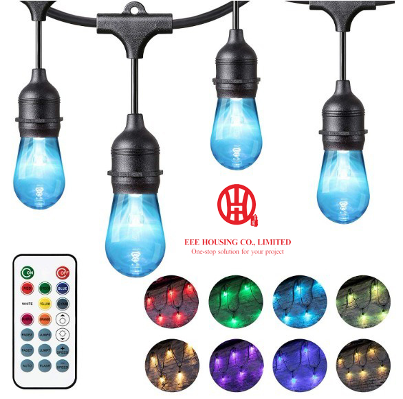 Color Changing Outdoor String Lights For Patio, Commercial Grade Hanging LED Cafe Lights,Weatherproof Outside Party Lights