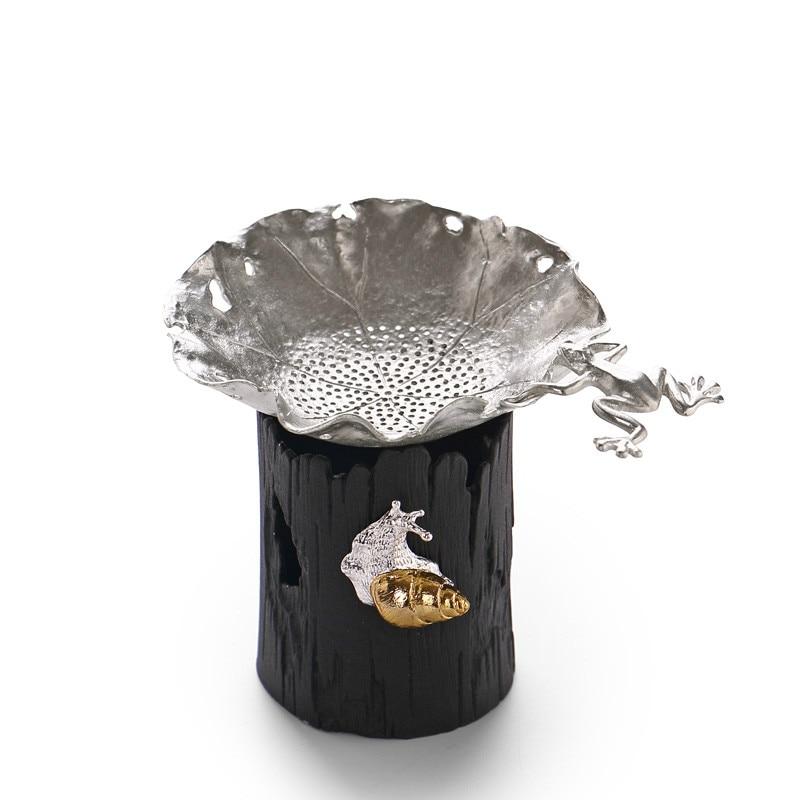 High Quality Pure Tin Tea Strainers Tea Filter Chinese Kung Fu Tea Accessories Handmade Maple Leaf Frog Filter Tea Strainer