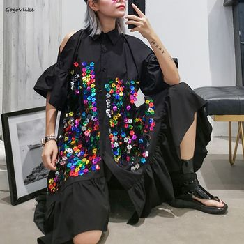 2020 New Spring Off The Shoulder Black Irregular Sequins Women Dress Big Size Hollow Out Dress Women Shirt Dress LT883S50 off the shoulder mini dress in black