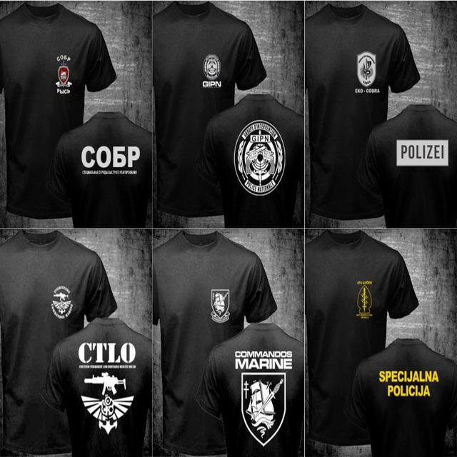 Mens Camisetas Ruso Spetsnaz ATJ LUCKO Francés GIPN GIGN Marino Nepal CTLO RGR EKO Austria COBRA Fuerzas Especiales de La Policía T camisas