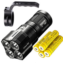 High Lumen NITECORE TM28 LED Flashlight 4 *CREE XHP35 HI 6000LM beam distance 655M + 4* 18650 3100mAh batteries + NHM10 Holder