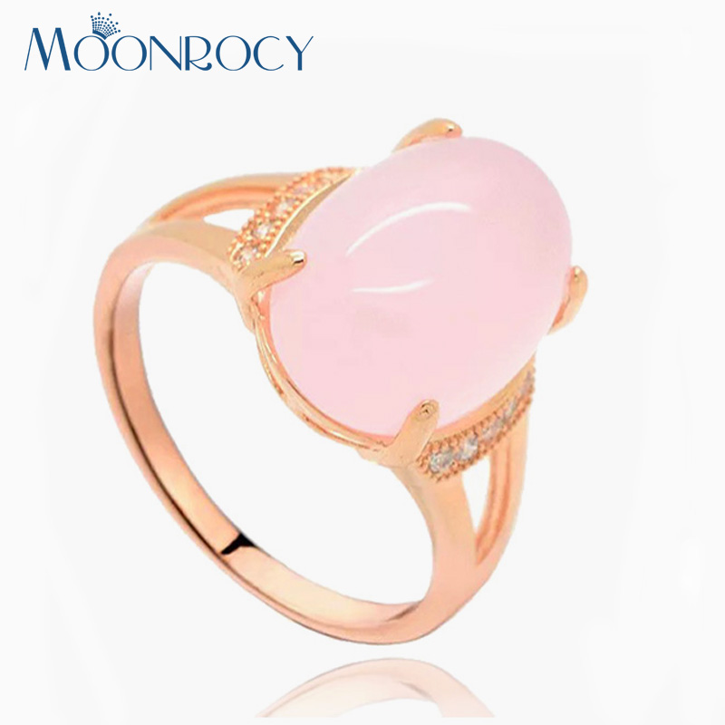 MOONROCY Free Shipping Fashion Jewelry Wholesale Rose Gold Color Oval Pink Opal CZ Crystal Ring for Women Girls Drop Shipping