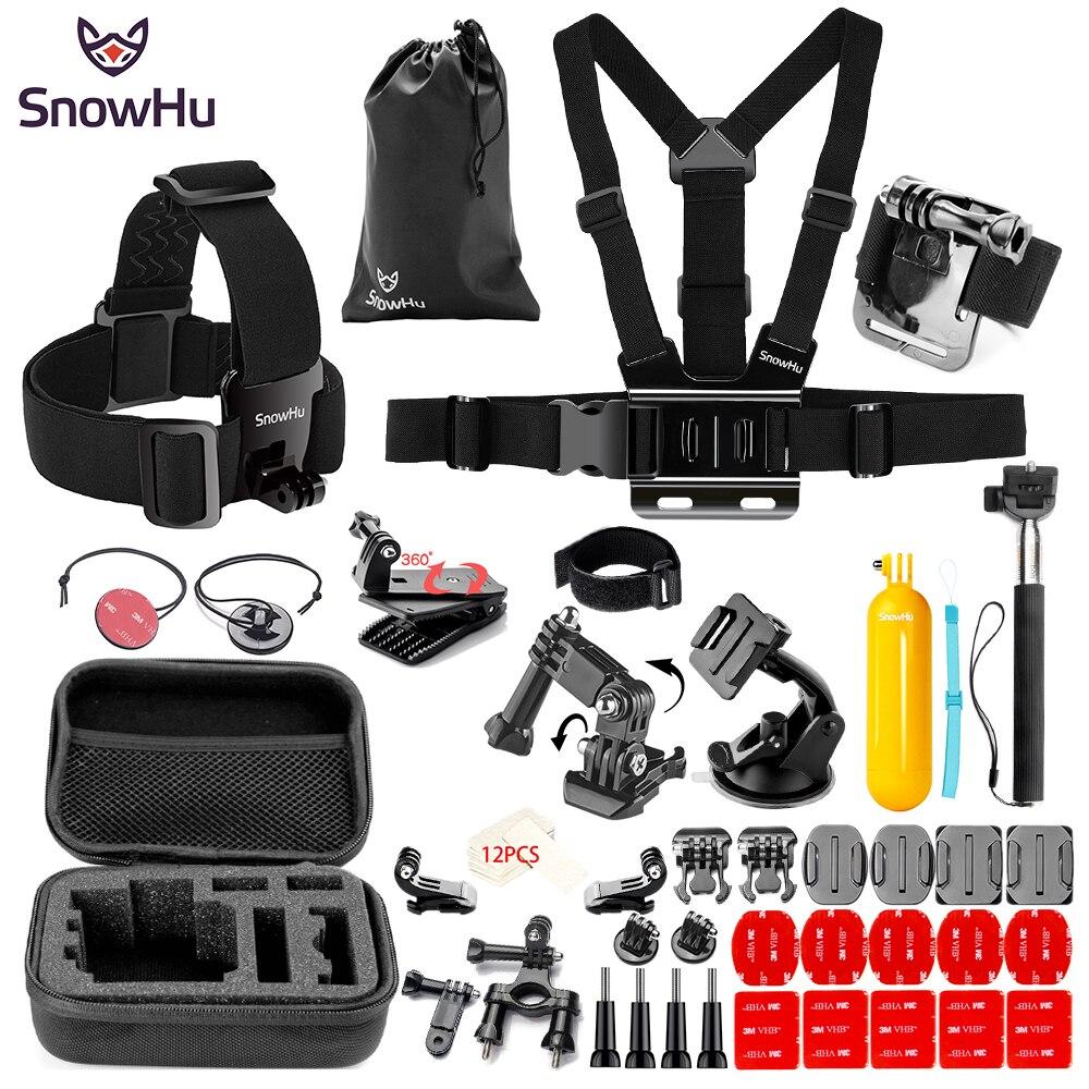 SnowHu pour Gopro hero Y89 accessoires bande de poitrine tube de survie sac luminaire disque de Trochal pour Go pro hero 7 6 5 EKEN H9 xiaomi yi
