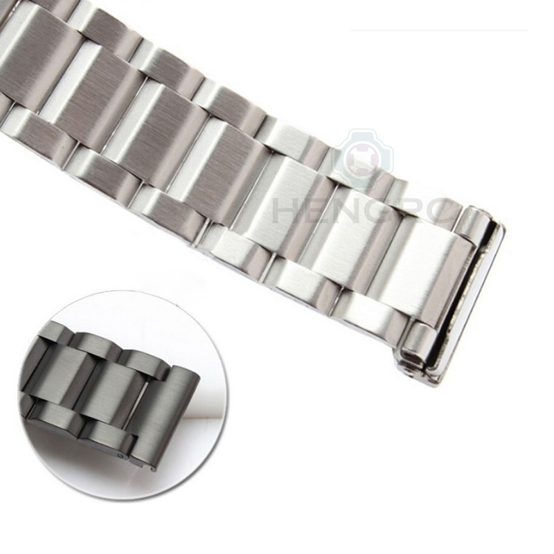 HENGRC Black Stainless Steel Watch Band Bracelet 18 20 22 24mm Solid Stainless Steel Silver Gold Watchbands Strap Accessories
