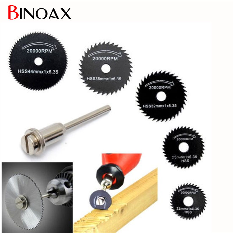 Binoax 6pcs/set Mini HSS Rotary Tool Circular Saw Blades For Dremel Metal Rotary Cutter Power Tool Set #ND00239#
