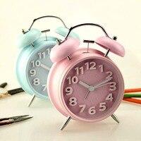 TUDA Free Shipping 4 Inch Mute Double Bell Ring Metal Alarm Clock Candy Color Retro Alarm Clock for Student Quartz Alarm Clock
