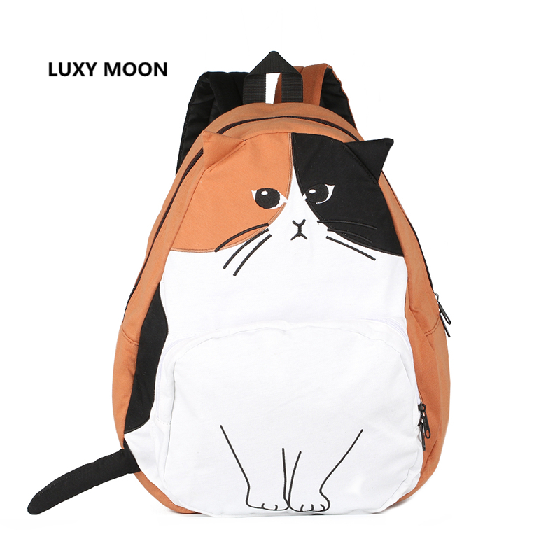 sac en dos Mochila Ears Cat Cute School Rygsække til Teenage Girls Animal Prints Broderi Large Capacity Women's Bagpack 435
