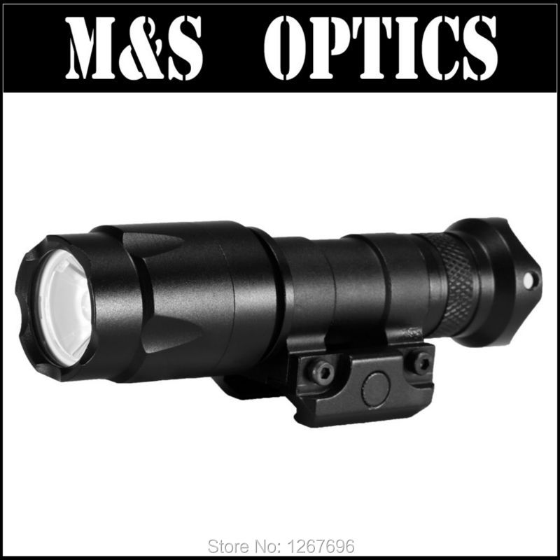 X600 Tactical Flashlight 20MM Rail Mountable LED Weapon Light LR123A-1 (Black) For Rifles Guns greenbase m600v ir scout light white light and ir output weapon light led flashlight hunting 400 lumens flashtorch 20mm rail