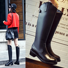 Women's Winter Flat Knight Boots Brand Designer Genuine Leather Knee High Boots Metal Buckle Long Boots Shoes for Women Calzados