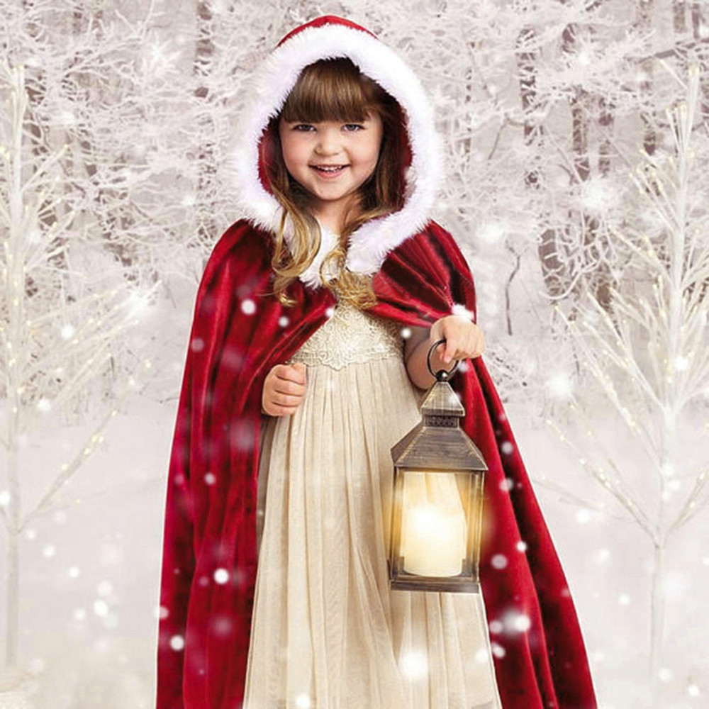 New Year Merry Christmas Girls Clothing Kids Childrens' Costume Flannel Santa Hooded Cosplay Cape Robe for Boy Girl BFOF
