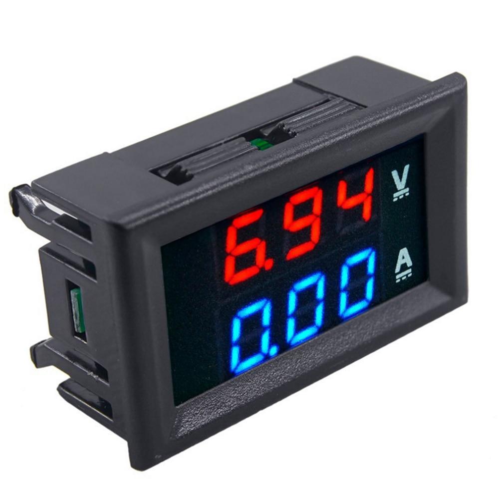 Nuevo DC1-100V voltímetro de pantalla LED 10A Digital de doble Color azul y rojo amperímetro indicador de corriente de voltaje herramienta de uso doméstico