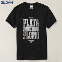 2017 Summer New Brand Clothing Plata O Plomo Narcos Pablo Escobar Silver Or Lead T Shirt