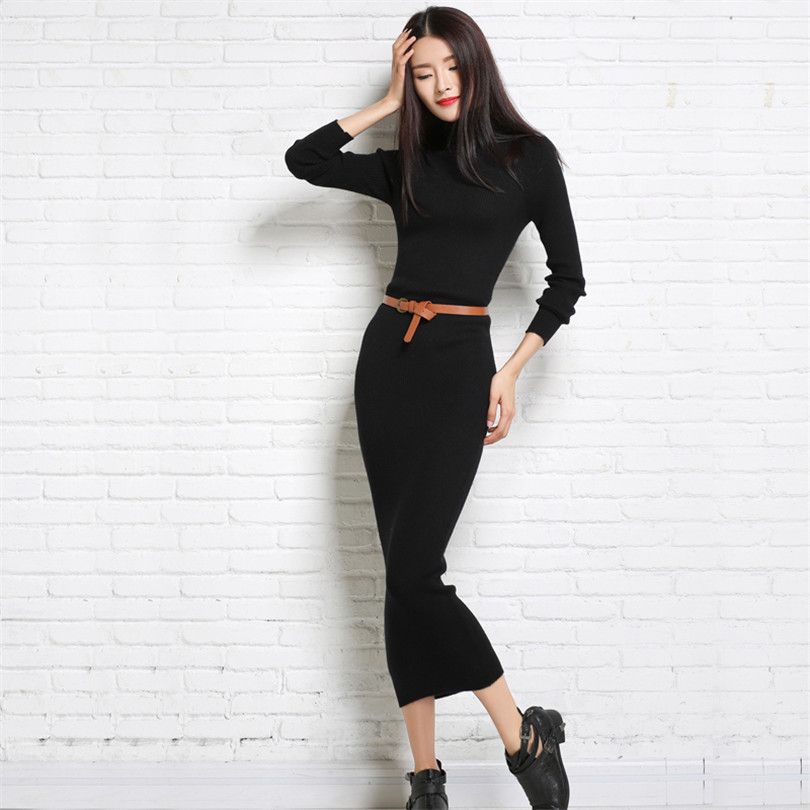 winter <font><b>rib</b></font> <font><b>sweater</b></font> <font><b>dress</b></font> for women long 2016 new office elegant sexy <font><b>dress</b></font> long sleeve <font><b>turtleneck</b></font> women knitted <font><b>dress</b></font> wool