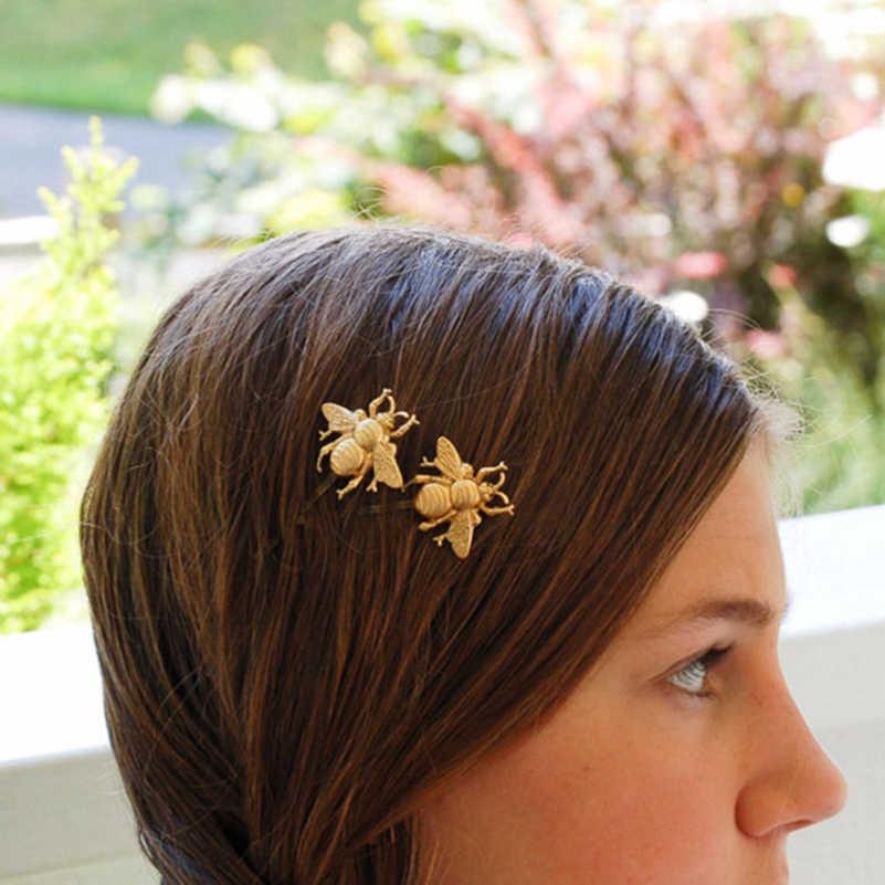 2 pièces abeille dorée épingle à cheveux côté pince diadème cheveux accessoires mode cheveux bijoux nouveau pour femmes fille