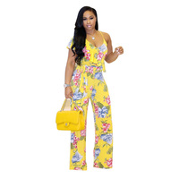 MUXU summer suspenders ruffle Sexy bodies floral wide leg jumpsuit plus size body feminino rompers womens jumpsuit streetwear