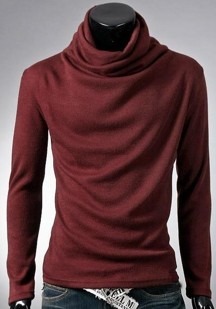ZOGAA 2019 New Men's T-Shirt Korean Version Fashion Rotary Pile Collar Design High Collar Undershirt Long Sleeve
