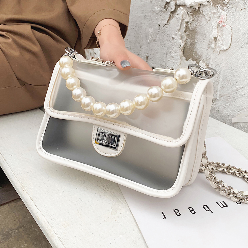 Sweet Girl Transparent Jelly bag 2019 Fashion New Quality PU Leather Women's Designer Handbag Lock Chain Shoulder Messenger bags