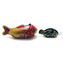 Vintage Clockwork Wind Up Whole eating fish toys Photography Children Kids Adult Fish Tin Toys Classic Toy Christmas Gift
