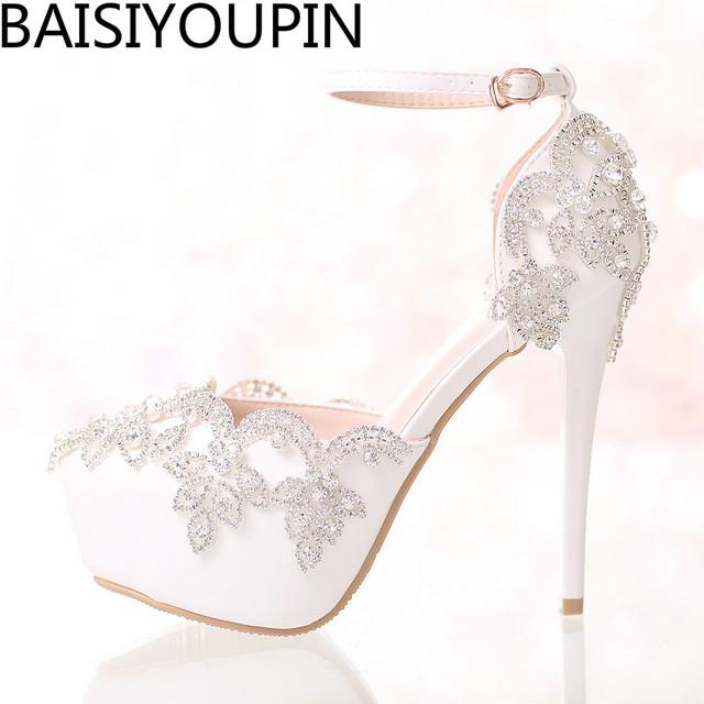 2017 White Diamond Wedding Shoes High Heels Wristband Waterproof ...