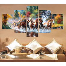 Modern Abstract Canvas Painting Wall Art Picture Home Decor 5 Pieces Animal Colorful Horse River Woods Landscape HD Print Poster недорго, оригинальная цена