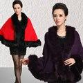 Новые женские широкий платок плащ кардиган свитер обернуть мыс искусственного меха плащ пальто