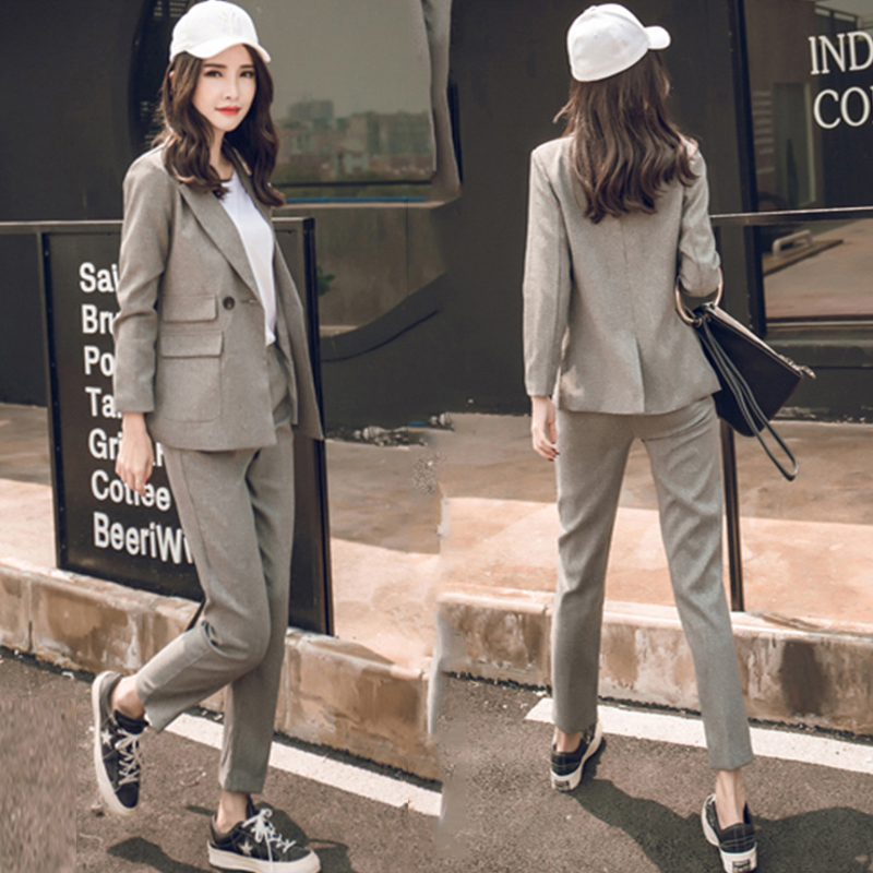 Fall winter Suit Suit Female Career Suit Jacket and Long Sections Temperament Casual Two-piece Pants TideThe Women Trouser Set